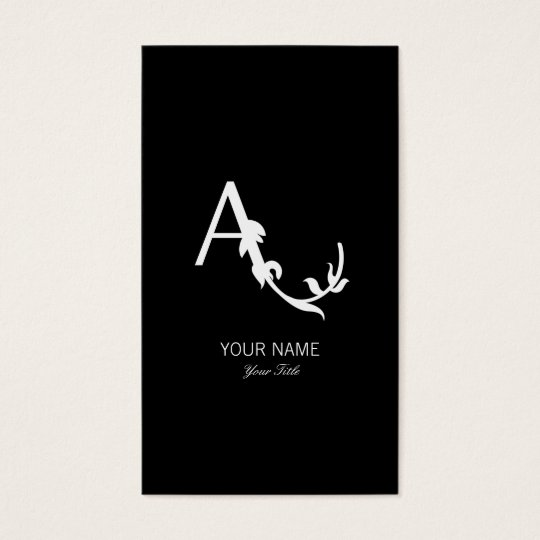 ROMANTIC FLORAL A  MONOGRAM BLACK BUSINESS CARD