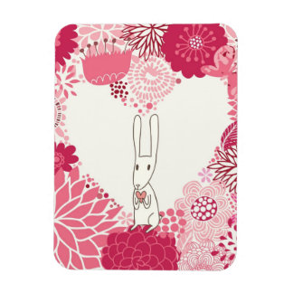 Romantic floral background with cute rabbit magnet