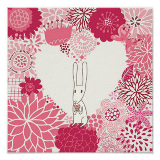 Romantic floral background with cute rabbit poster