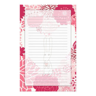 Romantic floral background with cute rabbit stationery