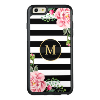 Romantic Floral Black White Stripes Monogram OtterBox iPhone 6/6s Plus Case