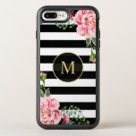 Romantic Floral Black White Stripes Monogram Otterbox Symmetry Iphone 7 Plus Case at Zazzle