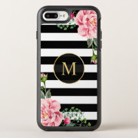Romantic Floral Black White Stripes Monogram OtterBox Symmetry iPhone 7 Plus Case