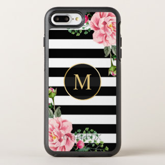Romantic Floral Black White Stripes Monogram OtterBox Symmetry iPhone 8 Plus/7 Plus Case