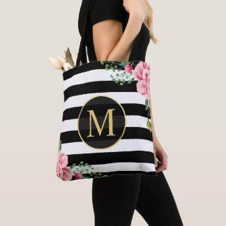 Romantic Floral Black White Stripes Monogram Tote Bag