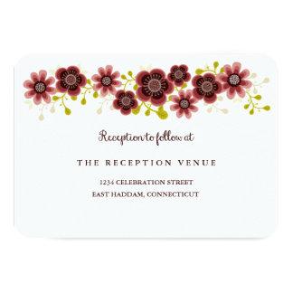 Romantic Floral Bouquet Banner Wedding Reception Card