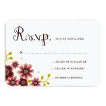 Romantic Floral Bouquet Banner Wedding RSVP 3.5x5 Paper Invitation Card