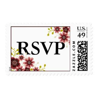 Romantic Floral Bouquet Banner Wedding RSVP Stamp