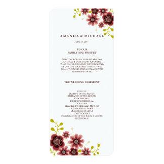 "Romantic Floral Bouquet Wedding Program 4"" X 9.25"" Invitation Card"
