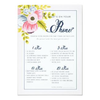 Romantic Floral Bridal Shower Phone Game Card