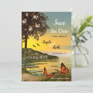 Romantic Floral Butterfly Save the Date Card