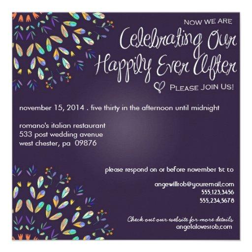 Romantic Floral Chalkboard Post Wedding Invitation