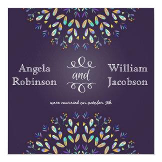 """Romantic Floral Chalkboard Post Wedding Invitation 5.25"""" Square Invitation Card"""