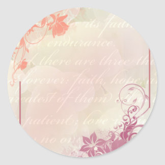 Romantic floral classic round sticker