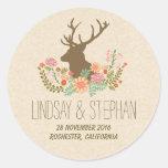 Romantic floral deer wedding stickers