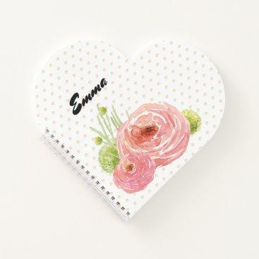 Beach Themed Romantic Floral Design Custom Gift Notebooks