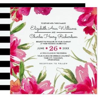 Romantic Floral Design Custom Wedding Invitations