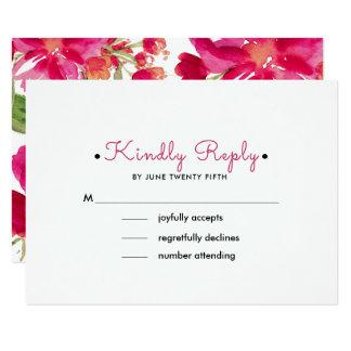 Romantic Floral Design Custom Wedding RSVP Cards