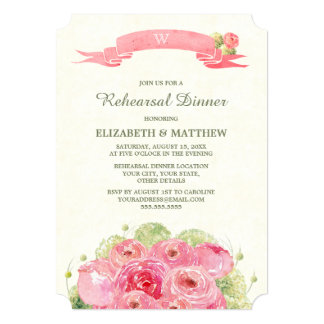 Romantic Floral Design Rehearsal Dinner Invitation