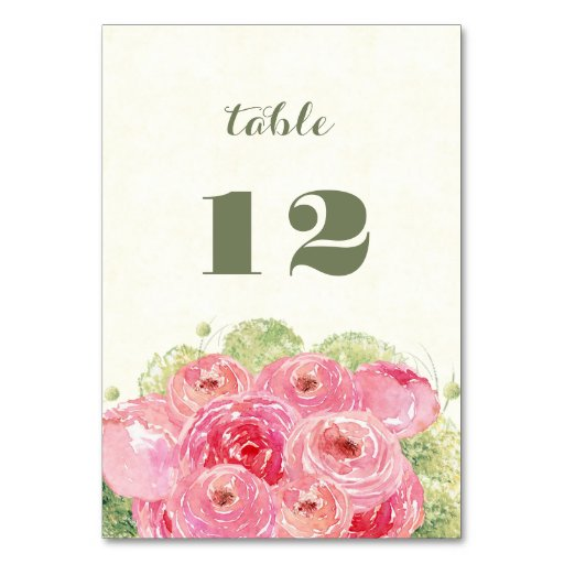 Romantic Floral Design Wedding Table Number Cards Zazzle