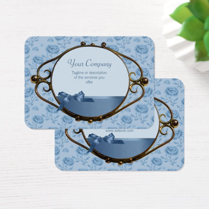 Romantic floral dreamy blue elegant antique CC0337 Business Card