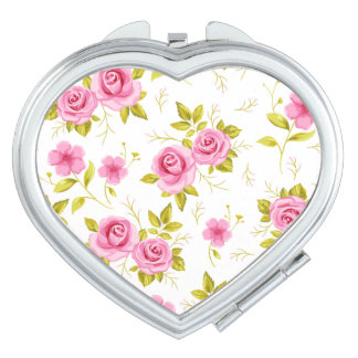 Romantic Floral Flowers Roses Pink White Pattern Compact Mirrors