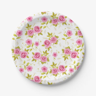 Romantic Floral Flowers Roses Pink White Pattern 7 Inch Paper Plate