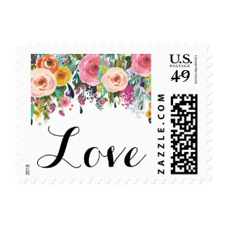Romantic Floral Garden Watercolor Love Postage
