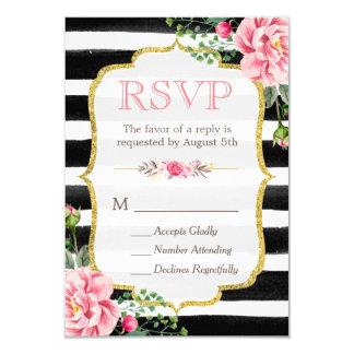 Romantic Floral Gold Glitter B&W Striped RSVP Card