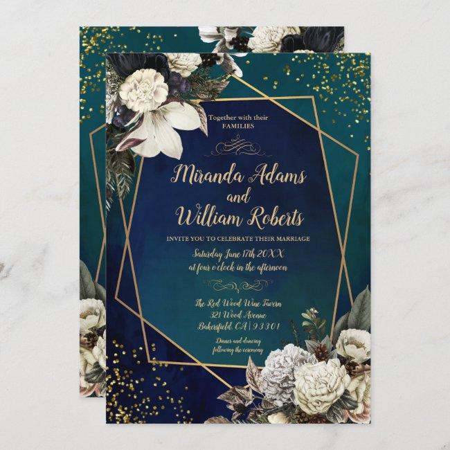 Romantic Floral Gold Wreath Confetti Wedding Invitation