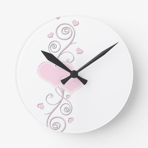 Romantic Floral Heart Clock Round Wall Clock