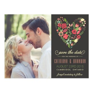 Romantic Floral Heart Photo Save the Date Postcard
