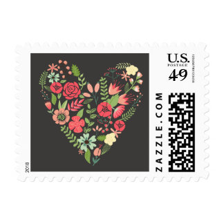 Romantic Floral Heart Postage Stamp