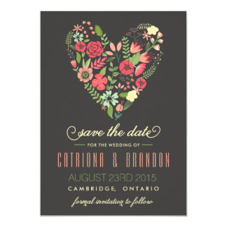 Romantic Floral Heart Save the Date Announcement