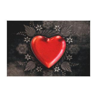 Romantic Floral Heart Valentine Love Canvas Print