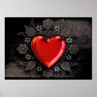 Romantic Floral Heart Valentine Love Poster