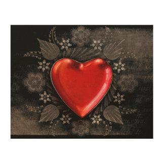 Romantic Floral Heart Valentine Love Wood Print