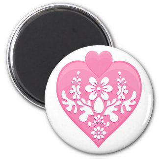 Romantic Floral Hearts 2 Inch Round Magnet