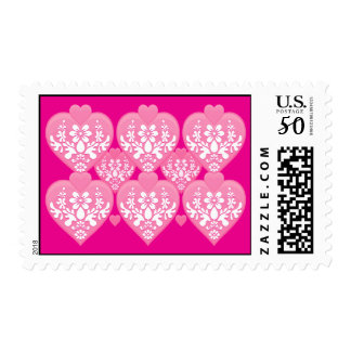 Romantic Floral Hearts Postage