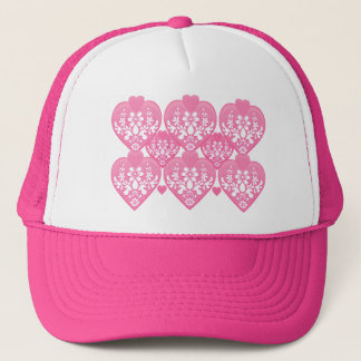Romantic Floral Hearts Trucker Hat