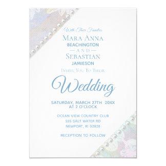 *~* Romantic Floral Lace Pearls Vintage Wedding Invitation
