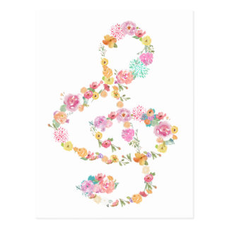 romantic floral music treble clef postcard