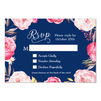 Romantic Floral Navy Blue Meal Choices RSVP Reply Card