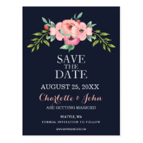 Romantic Floral Navy Blue Peach save the dates Postcard