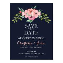 Romantic Floral Navy Blue Peach save the dates Postcard