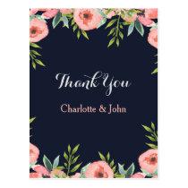 Romantic Floral Navy Blue Peach Thank You notes Postcard
