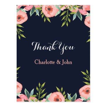 Romantic Floral Navy Blue Peach Thank You notes Postcard