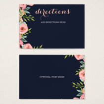 Romantic Floral Navy Blue Peach Wedding Business Card
