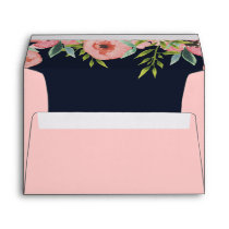 Romantic Floral Navy Blue Peach Wedding envelope