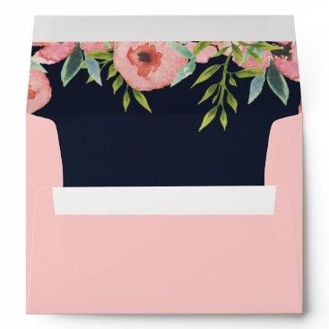 Romantic Floral Navy Blue Peach Wedding envelope